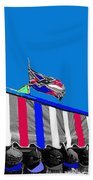 Confederate Flag Us Flag Line Of Hats Tucson Arizona Color Added Beach Towel