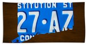 Connecticut State License Plate Map Beach Towel