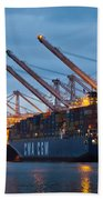 Container Ships Docked In Port Of Oakland Beach Towel