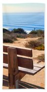 Contemplation Bench At The Oceans Edge Beach Towel