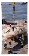 Contractors Hoist The X-47b Unmanned Beach Towel