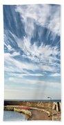 Contrails At Lyme Regis Harbour  Beach Towel