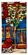 Conversation At St Viateur Bagel Paintings Mehadrin Kosher Deli Authentic Vintage Montreal Cspandau Beach Towel
