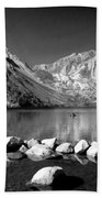Convict Lake Pano In Black And White Beach Towel