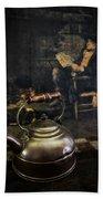 Copper Teapot Beach Towel by Debra and Dave Vanderlaan
