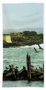 Coquille River Lighthouse And Birds Beach Towel