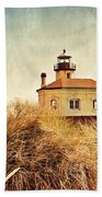 Coquille River Lighthouse - Texture Beach Towel