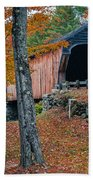 Corbin Covered Bridge Newport New Hampshire Beach Towel by Edward Fielding