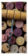 Corkscrew On Top Of Wine Corks Beach Towel by Garry Gay