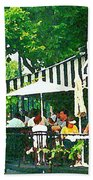 Corner Taverne Terrace French Paris Bistro Painting Sidewalk Cafe Wine Cheese Bar Montreal Cspandau  Beach Towel