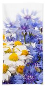 Cornflower And Chamomile Bunch Blooms  Beach Towel
