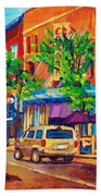 Corona Theatre Presents The Burgundy Lion Rue Notre Dame Montreal Street Scene By Carole Spandau Beach Towel