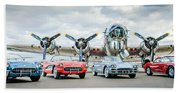 Corvettes With B17 Bomber Beach Towel
