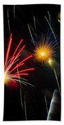 Cosmos Fireworks Beach Towel by Inge Johnsson