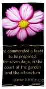 Cosmos Flower With Bible Quote From Esther Beach Towel