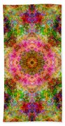 Cosmos Pink Sun Diamond Mandala Beach Towel