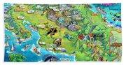 Costa Rica Map Illustration Beach Towel