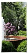 Cottage Garden Fountain Beach Towel