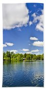 Cottage Lake With Diving Platform And Dock Beach Towel by Elena Elisseeva