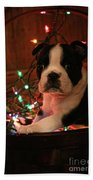 Country Christmas Puppy Beach Towel