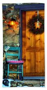 Country Cottage Door At Christmas Beach Towel