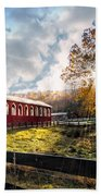 Country Covered Bridge Beach Towel by Debra and Dave Vanderlaan