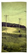 Country Dirt Road And Telephone Poles Beach Towel
