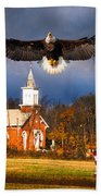 country Eagle Church Flag Patriotic Beach Towel