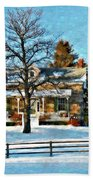 Country Home Watercolor Beach Towel