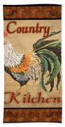 Country Kitchen Rooster Beach Towel