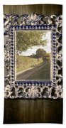 Country Lane Reflected In Mirror Beach Towel by Amanda Elwell