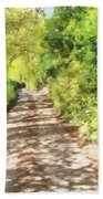 Country Lane Watercolour Beach Towel