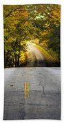 Country Road In Fall Beach Towel