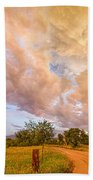 Country Road Into The Storm Front Beach Towel