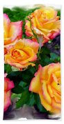 Country Roses Watercolor Beach Towel