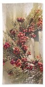 Country Wreath With Red Berries Beach Towel