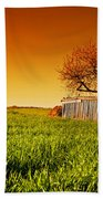 Countryside Orchard Landscape At Sunset. Spring Time Beach Towel