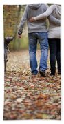 Couple And Dog Autumn Or Fall Beach Towel