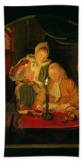 Couple Counting Money By Candlelight, 1779 Panel Beach Towel
