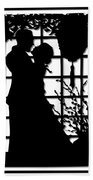 Couple In Love Silhouette Beach Towel