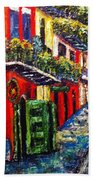 Couple In Pirate's Alley Beach Towel