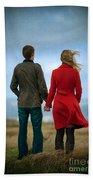Couple Standing On Windy Moorland Beach Towel