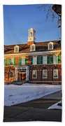 Court House In Winter Time Beach Towel