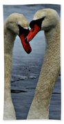 Courting Swans Beach Towel