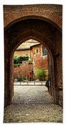 Courtyard Of Cathedral Of Ste-cecile In Albi France Beach Sheet