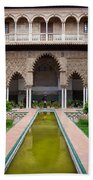 Courtyard Of The Maidens In Alcazar Palace Of Seville Beach Towel