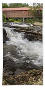 Covered Bridge And Waterfall Beach Towel by Edward Fielding