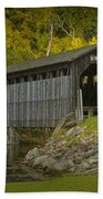Covered Bridge In Fall Beach Towel