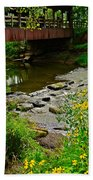 Covered Bridge Beach Towel by Frozen in Time Fine Art Photography
