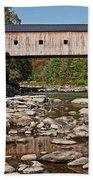 Covered Bridge Vermont Beach Towel by Edward Fielding